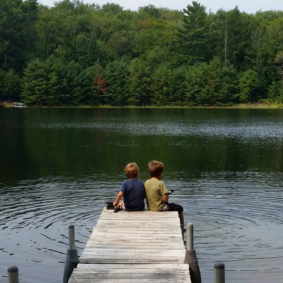 Chicaugon Lake fishing off the dock, Iron County Michigan and Chicaugon Lake Inn