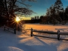 Winter Sunrise over Chicaugon Lake, Iron County Michigan and Chicaugon Lake Inn